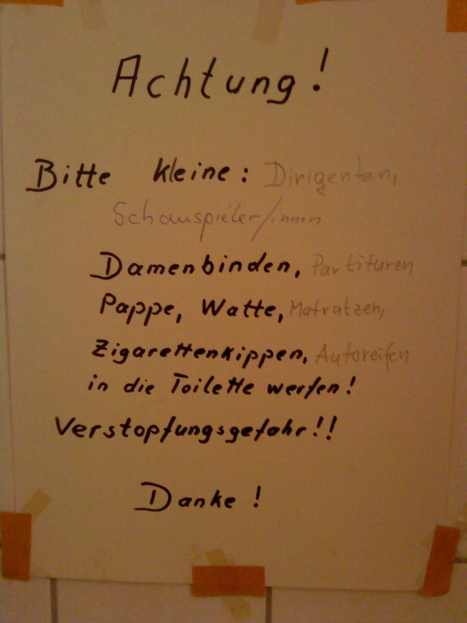 Innerkirchliche Toilettenwarnung